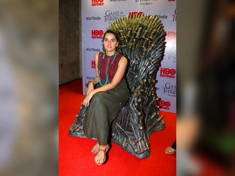 Television actor Shruti Seth at the premiere of film Game of Thrones Season 5 in Mumbai on April 9, 2015. (IANS)