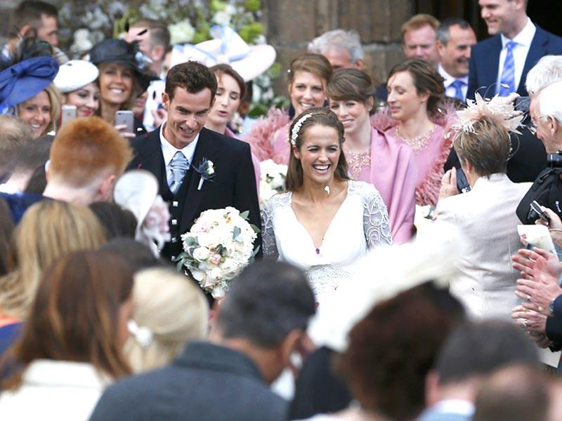 Tennis player Andy Murray leaves the cathedral after his wedding to his fiancee Kim Sears in Dunblane, Scotland. REUTERS/Russell Cheyne