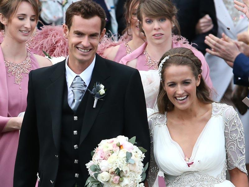 Britain's Andy Murray and Kim Sears leave Dunblane Cathedral in Scotland after their wedding, Saturday. (AP Photo/PA, Andrew Milligan)