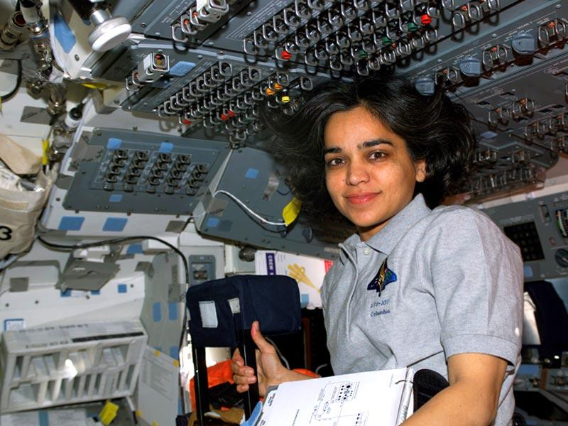 Human space flight day | Astronaut Kalpana Chawla, STS-107 mission specialist, is pictured on the flight deck of the Earth-orbiting Space Shuttle Columbia just one day after the launch.