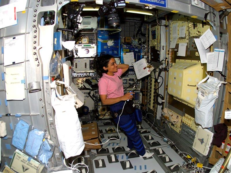 Human space flight day | Taken on January 27, Astronaut Kalpana Chawla, STS-107 mission specialist, is pictured in the SPACEHAB Research Double Module aboard the Space Shuttle Columbia. This is one of the last pictures of Kalpana Chawla taken before the shuttle disintegrated on February 1,2003.