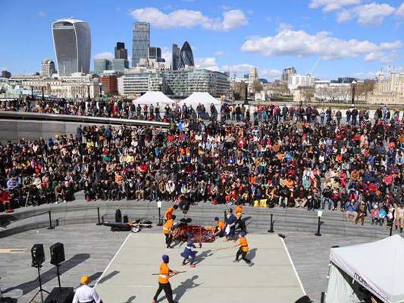 People gathered in London during Baisakhi festivity. EY Sikh network