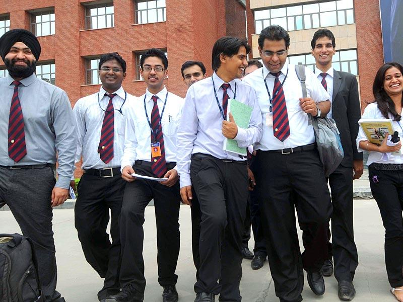 Students at the Amity Business School in Sector 125, Noida. (HT Photo/Rishi Ballabh)