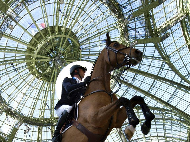 Paris: France's Julien Epaillard rides Cristallo A LM as he competes during the Grand Prix Hermes International Jumping Competition on April 12, at The Grand Palais in Paris.