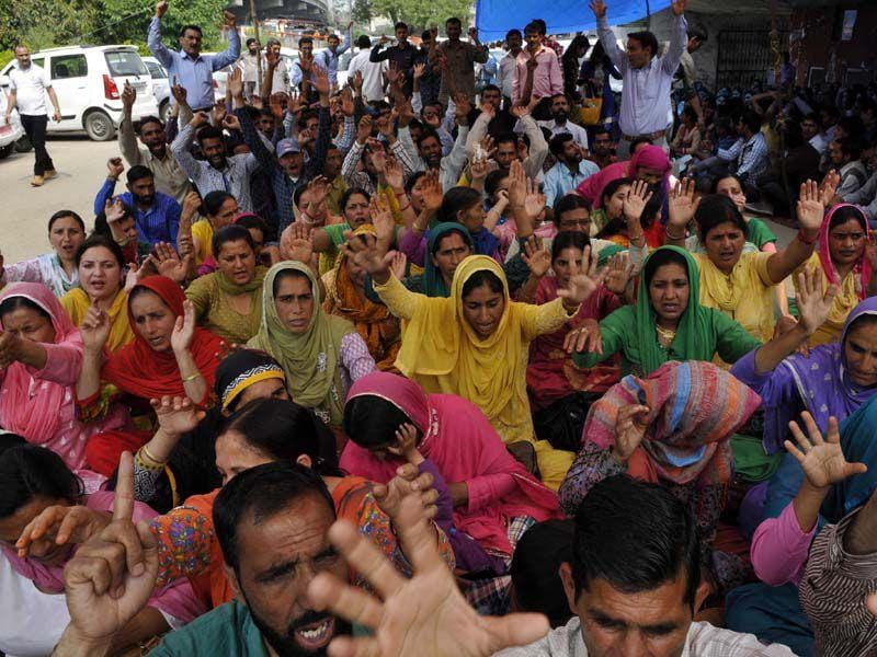J-K national trade union front raising slogans against the state government in Jammu. Nitin Kanotra/HT