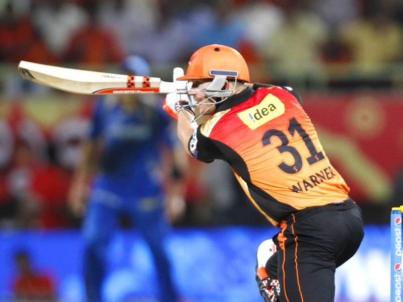 Sunrisers Hyderabad's D Warner in action against Rajasthan Royals during their IPL match at Visakhapatnam, on Thursday. (Ashok Nath Dey/HT Photo)