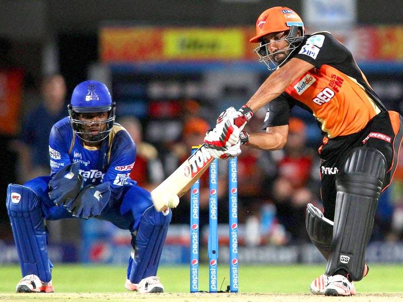 Ravi Bopara of the Sunrisers Hyderabad plays a shot during their IPL match against Rajasthan Royals in Visakhapatnam. (PTI Photo)