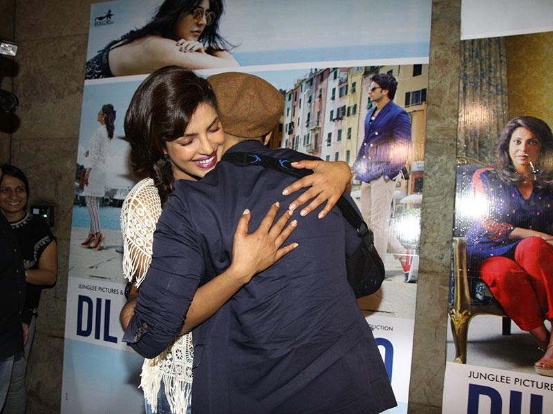 Ranveer Singh and Priyanka Chopra hug each other at an event to promote the trailer of their upcoming movie Dil Dhadakne Do in Mumbai. (Photo: IANS)