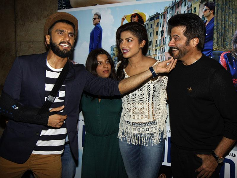 Ranveer Singh teases Anil Kapoor as filmmaker Zoya Akhtar and Priyanka Chopra get together to watch the trailer of Dil Dhadakne Do in Mumbai. (Photo: IANS)