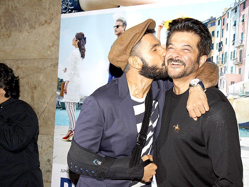 Ranveer Singh on a kissing spree? Anil Kapoor is his first target. (Photo: IANS)