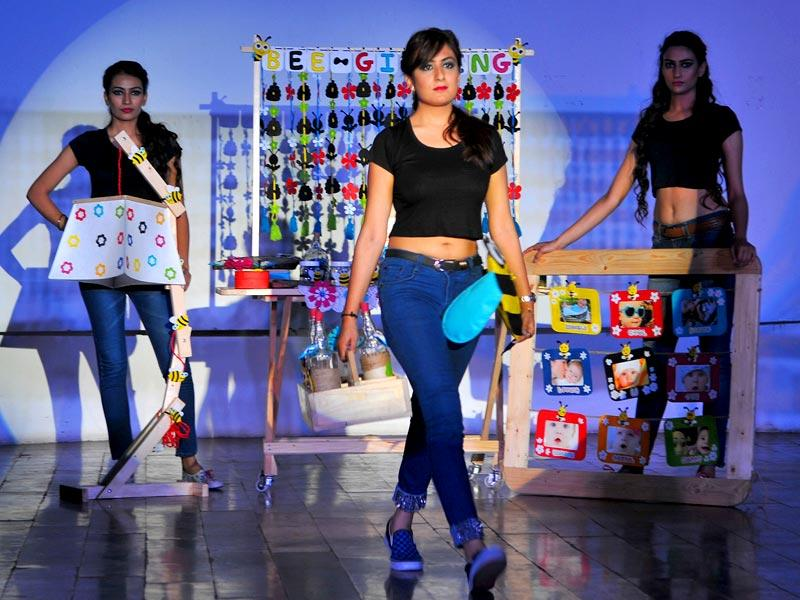 Models walk the ramp during annual fashion show of students of University Institute of Fashion Technology, Panjab University. (Keshav Singh/HT Photo)