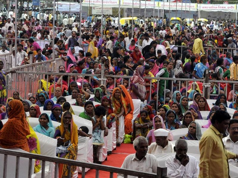 People take part in the Antyodaya fair, in Indore on Saturday. (Arun Mondhe/HT photo)