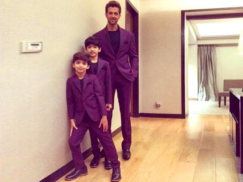 Hrithik Roshan with sons Hrehaan and Hridhaan. The star captioned the picture on Twitter as
