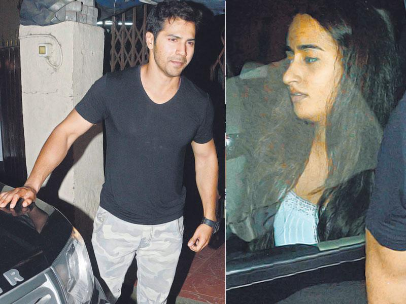 Varun Dhawan seen leaving a recording studio in Mumbai. His alleged girlfriend Natasha Dalal was also seen with him. (HT photo/Yogen Shah)