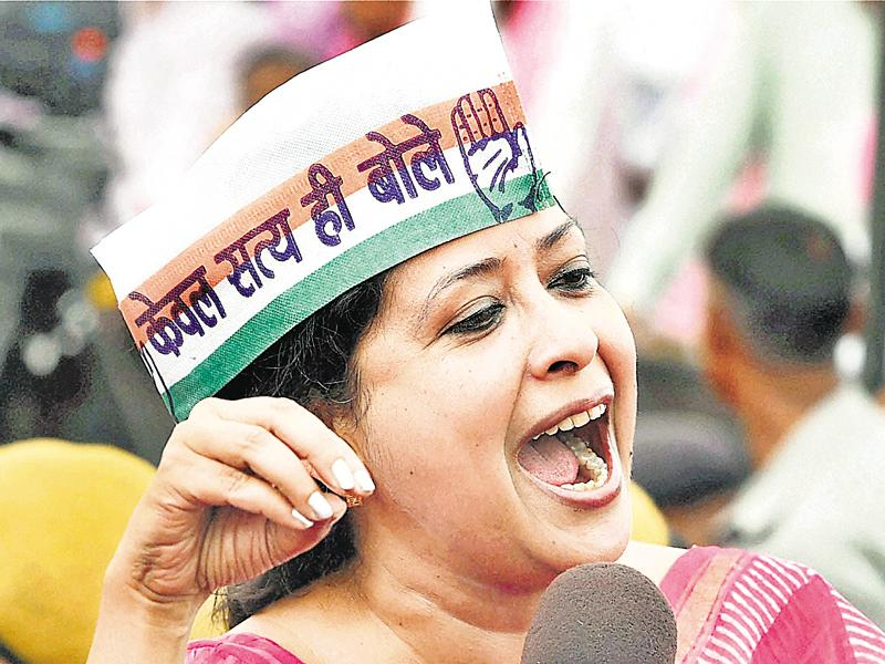 Congress leader Sharmistha Mukherjee during the farmers rally at Ramlila Maidan in New Delhi. (PTI Photo)