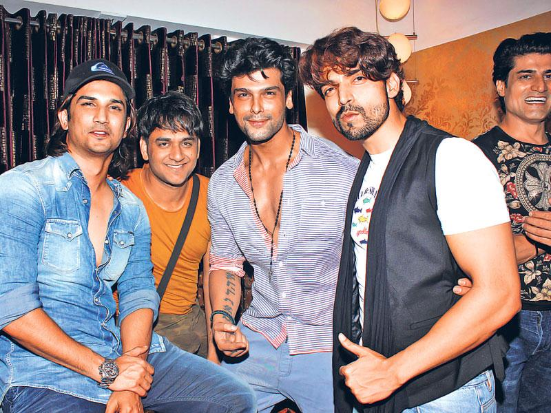 Sushant Singh, Kushal Tandon and Gurmeet Chaudhary during the birthday party of Debina Bonnerjee.