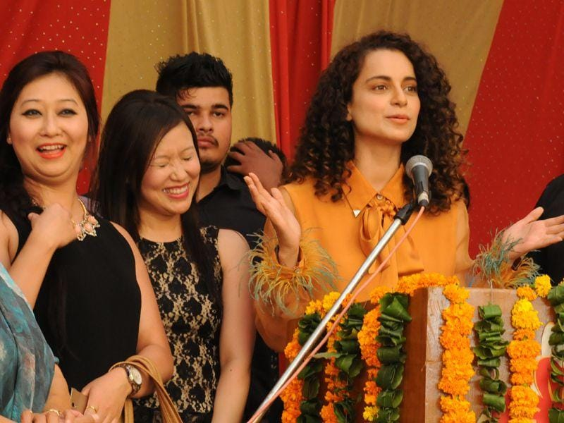 Bollywood actress Kangana Ranaut along with her co-star R.Madhavan attending private in Chandigarh. HT Photo