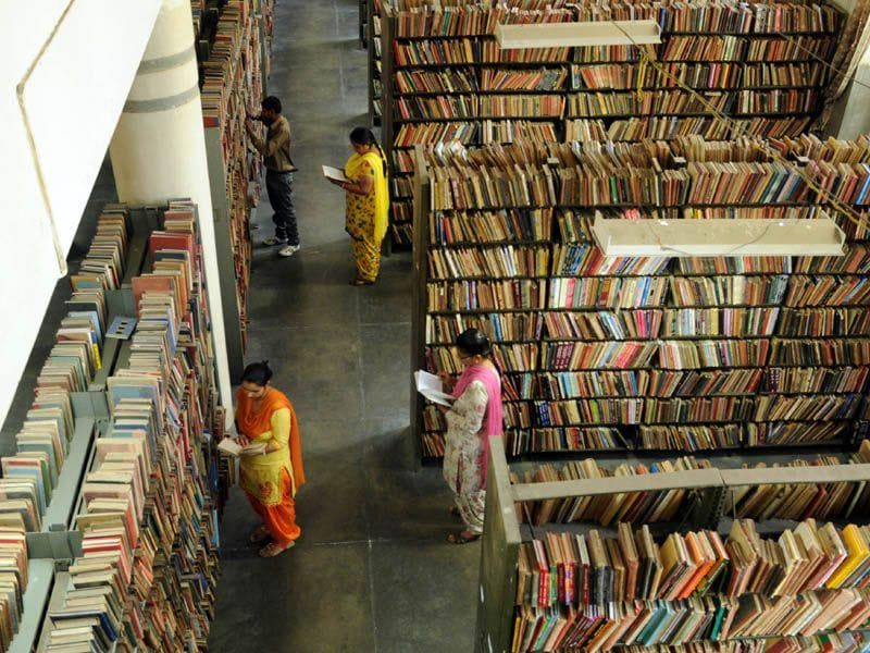 People going through the books at Govt Central library in Patiala. Bharat Bhushan/HT