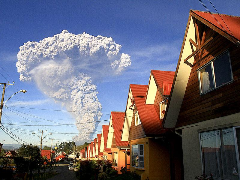 The Calbuco volcano is seen erupting from Puerto Varas, Chile. AP