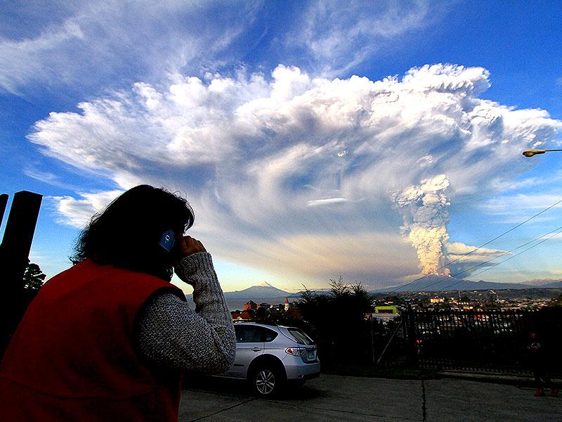 Smoke and ash rise from the Calbuco volcano, seen from Puerto Varas city, south of Santiago. Reuters