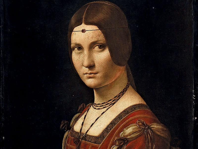 'La belle ferronière' aka 'Portrait of an Unknown Woman' (c. 1493-1495) Oil on wood.