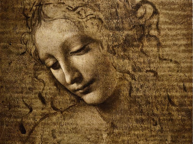 'The Head of a Woman' (c. 1504-1508) is one of da Vinci's unfinished works to be shown at Royal Palace of Milan, which is hosting Italy's biggest exhibit ever of his works. (AFP)