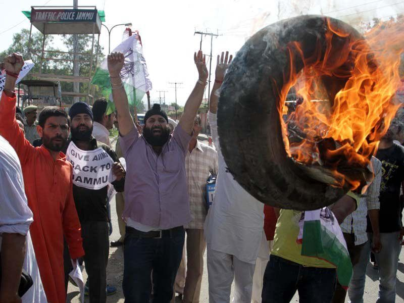 Panthers Party protesting against the state government decision to give AIIMS to Kashmir. Nitin Kanotra/HT