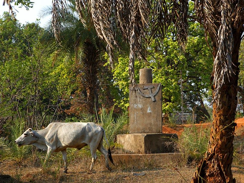A structure on roadside in Kuakonda, Dantewada. (Saumya Khandelwal/ HT Photo)