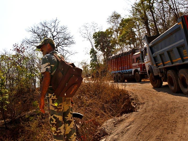 CRPF personnel on patrolling in Jiram ghati, Sukma. (Saumya Khandelwal/ HT Photo)