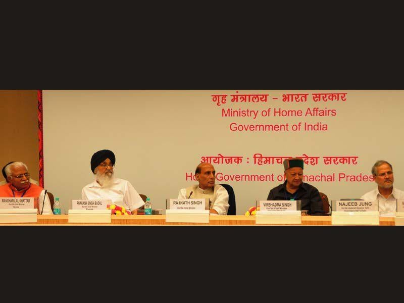 Punjab CM Parkash Singh Badal during the meeting of Northern Zonal Council at Vigyan Bhawan in New Delhi on Saturday. HT Photo