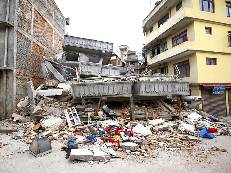 A collapsed building after 7.9 magnitude earthquake hit Kathmandu, Nepal. (Reuters Photo)