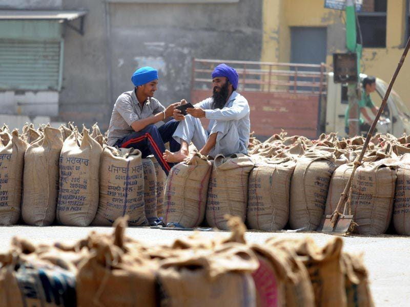 Farmers waiting to get thier wheat crop lifted at New Grain Market in Jalandhar. Pardeep Pandit/HT