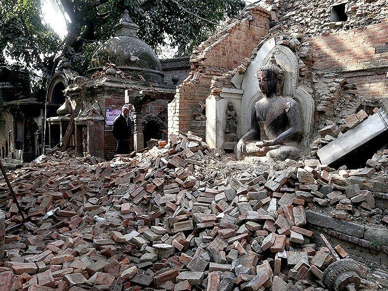 The devastated remains of a Buddhist temple in Kathmandu. (Raj K Raj/HT Photo)