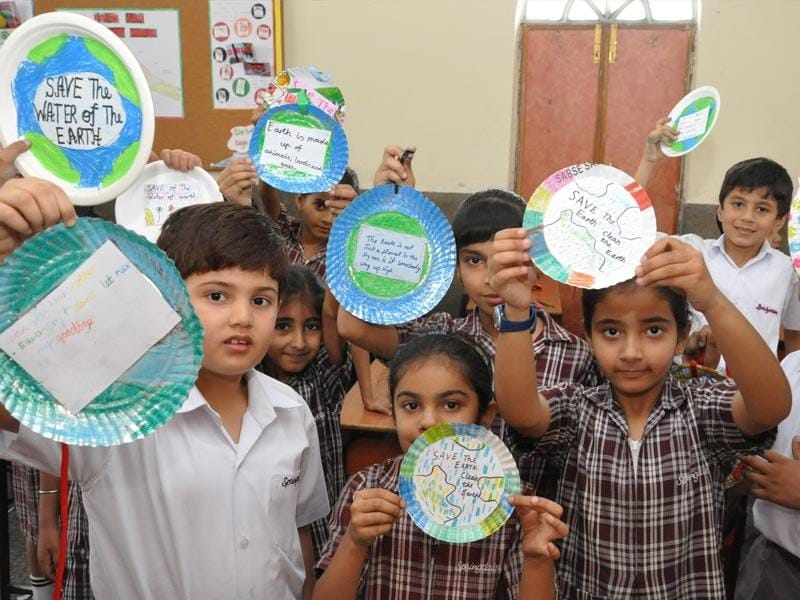 "In an effort to sensitise the students towards preserving our environment and to take proactive steps to restore the beauty and bounties of our Mother Earth, Springdales School, Dhaula Kuan celebrated the Earth Day. The theme of the day was ""Working towards Sustainable Development."" (Photo/HT PACE)"