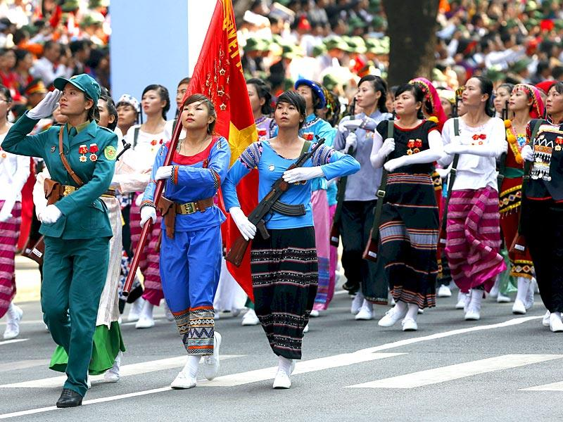 Female members of the ethnic minorities militia force march during the military parade. (Reuters)