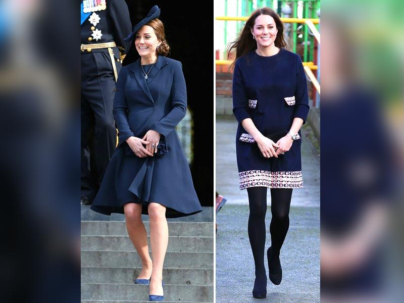 Dressed all in blue, the heavily pregnant royal looked radiant at official royal engagements in London, in March, 2015. (AP)