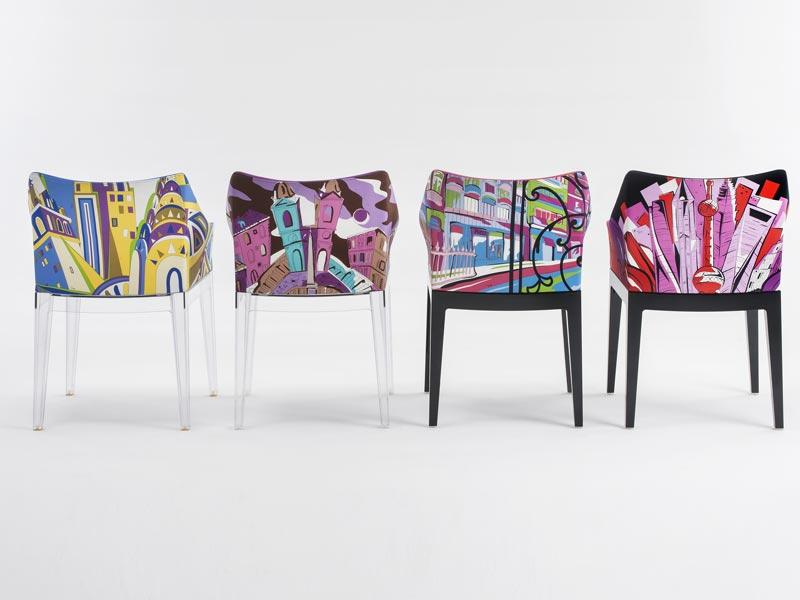 Philippe Starck's Madame chair for Kartell, updated by Pucci: The darling of the French design world saw his classic Madame chair, which is produced by Kartell, covered in colorful and modern fabrics by the Italian fashion house Pucci.