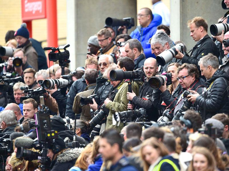 Members of the media gather outside the Lindo Wing at St Mary's Hospital in central London. (AFP Photo)