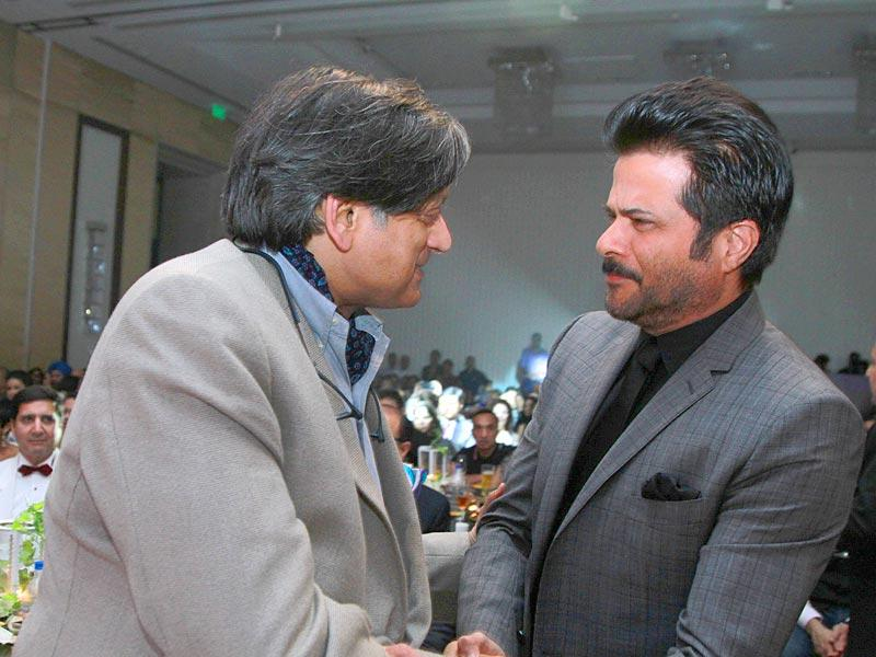 When Congress leader Shashi Tharoor met Bollywood star Anil Kapoor. Seems interesting, right? (Waseem Gashroo/HT)