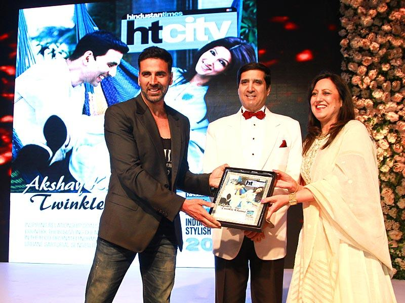 The star-studded function saw Akshay Kumar and Twinkle (though she could not make it to the event) being awarded India's most stylish couple. (Waseem Gashroo/HT)