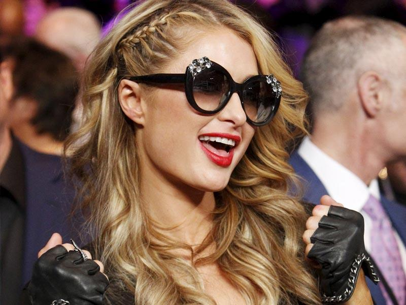 Paris Hilton attends the welterweight unification fight between Floyd Mayweather Jr. and Manny Pacquiao. (Reuters)