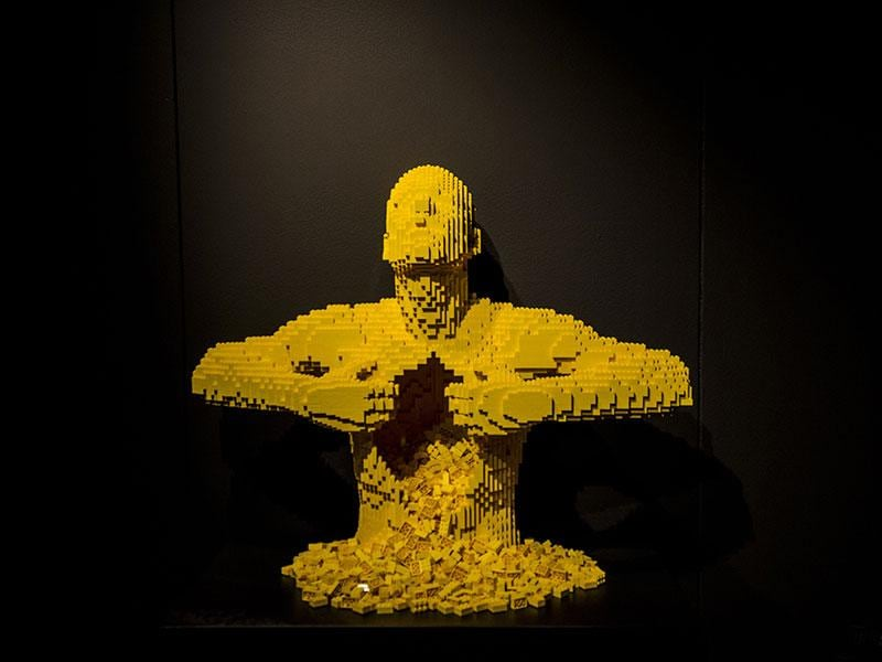 Yellow: The exhibit presents more than 100 incredible works of art created with Lego bricks.