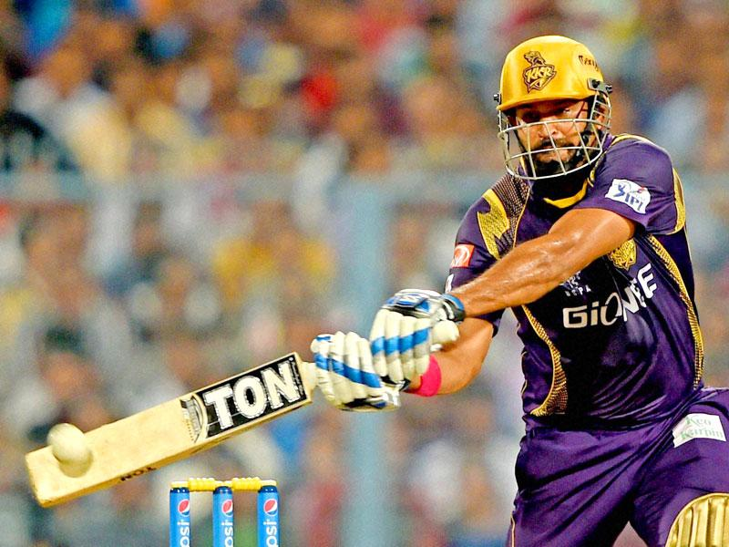 Kolkata Knight Riders (KKR) batsman Yusuf Pathan plays a shot during his team's IPL 2015 match against Sunrisers Hyderabad (SRH) at Eden Gardens in Kolkata. (PTI Photo)