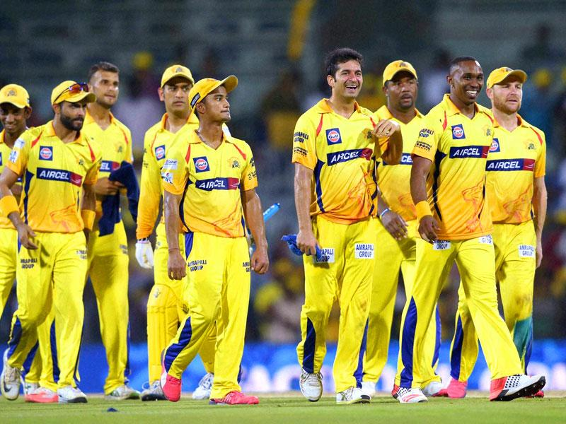 Chennai Super Kings (CSK) players celebrate their win over Royal Challengers Bangalore (RCB) during their IPL 2015 match at MA Chidambaram Stadium in Chepauk, Chennai. (PTI Photo)