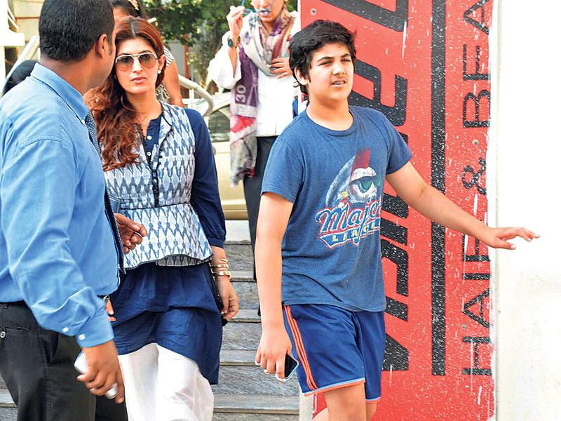 Twinkle Khanna and son Aarav Bhatia (right) were seen outside a suburban theatre in Mumbai. (Photos:Yogen Shah)