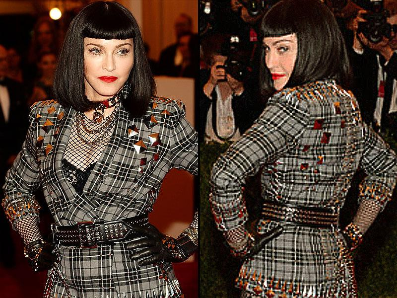 Madonna, 2013: The queen of pop went all-out punk for the 2013 ball with this Riccardo Tisci-designed outfit, paired with hot pink Casadei heels.
