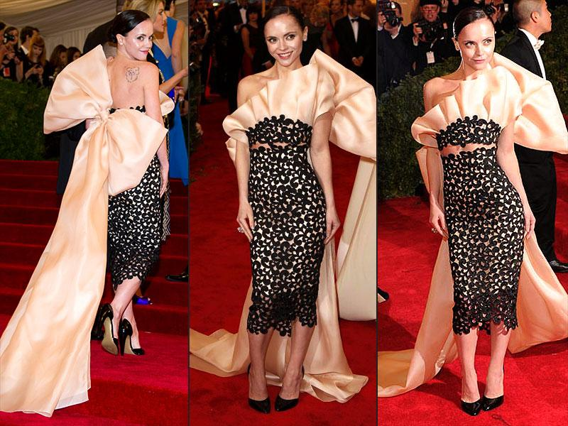 "Christina Ricci, 2012: ""Presenting"" herself on the red carpet in 2012 was Christina Ricci, in a gloriously lavish lace number by Thakoon featuring a giant silk bow."