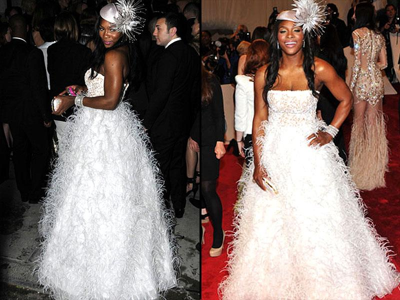 Serena Williams, 2011: At an event that drew inspiration from the dramatic creations of Alexander McQueen, the tennis ace served up a treat in this eye-catching feathered Oscar de la Renta gown and elaborate fascinator.