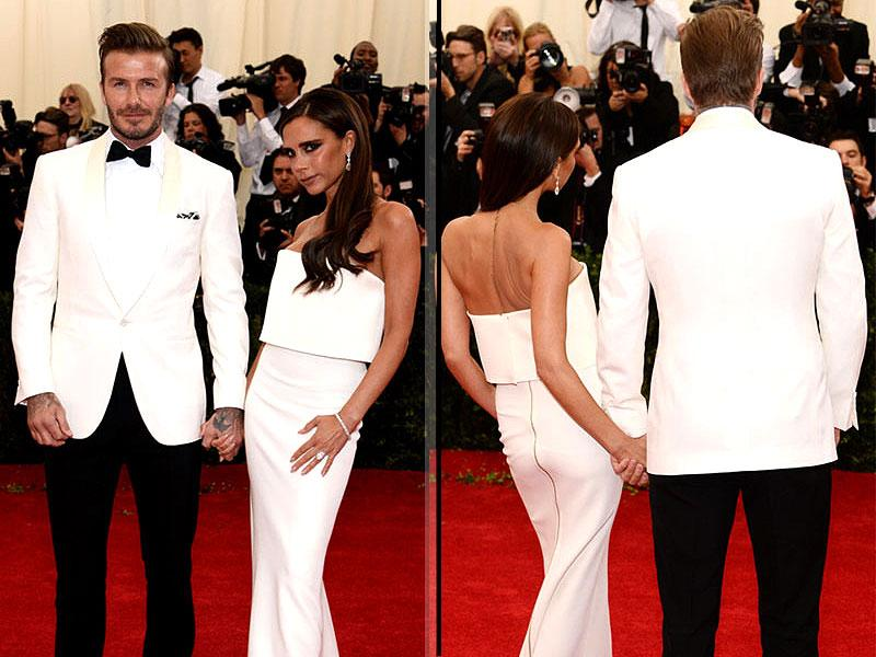 David and Victoria Beckham, 2014: Proving matching his and hers outfits can work, one of fashion's favorite power couples the Beckhams looked squeaky clean in sleek white last year.