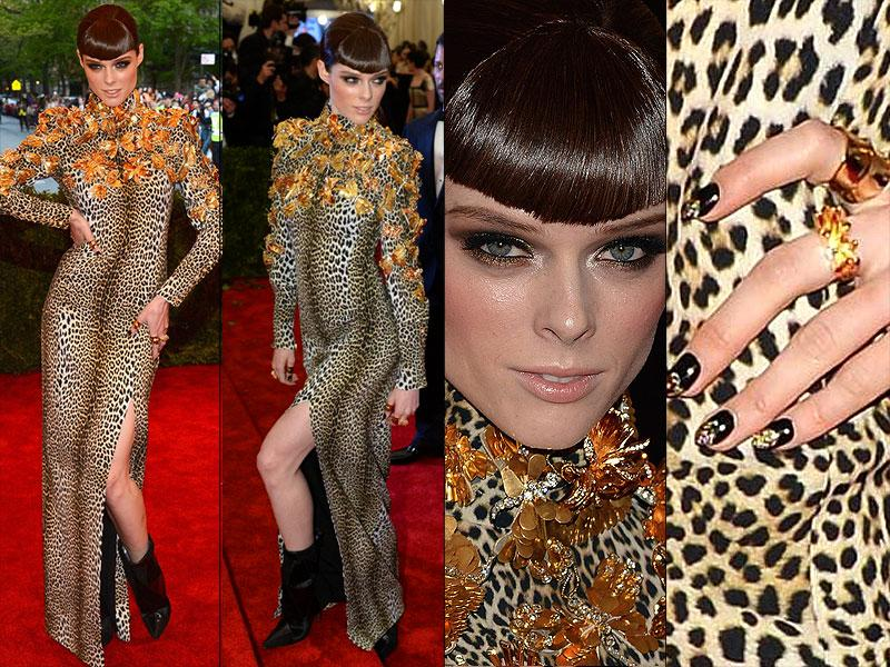Coco Rocha, 2013: Skintight leopard print with butterfly embellishment was the order of the day two years ago for model Coco Rocha, who rocked an ankle boot for effect.